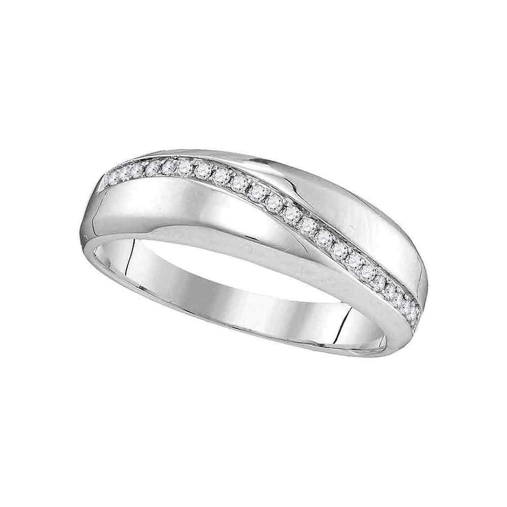 10kt White Gold Womens Round Diamond Single Row Crossover Wedding Band 1/6 Cttw