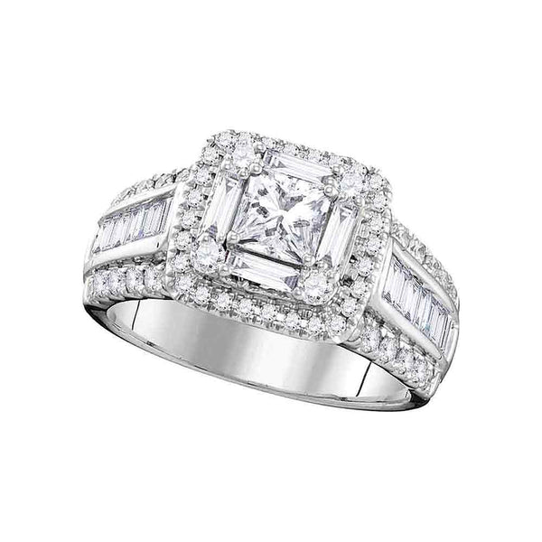 14kt White Gold Womens Princess Diamond Solitaire Halo Bridal Wedding Engagement Ring 1-3/4 Cttw