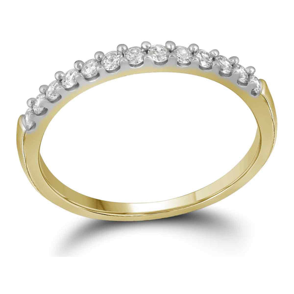 10kt Yellow Gold Womens Round Pave-set Diamond Wedding Band 1/6 Cttw