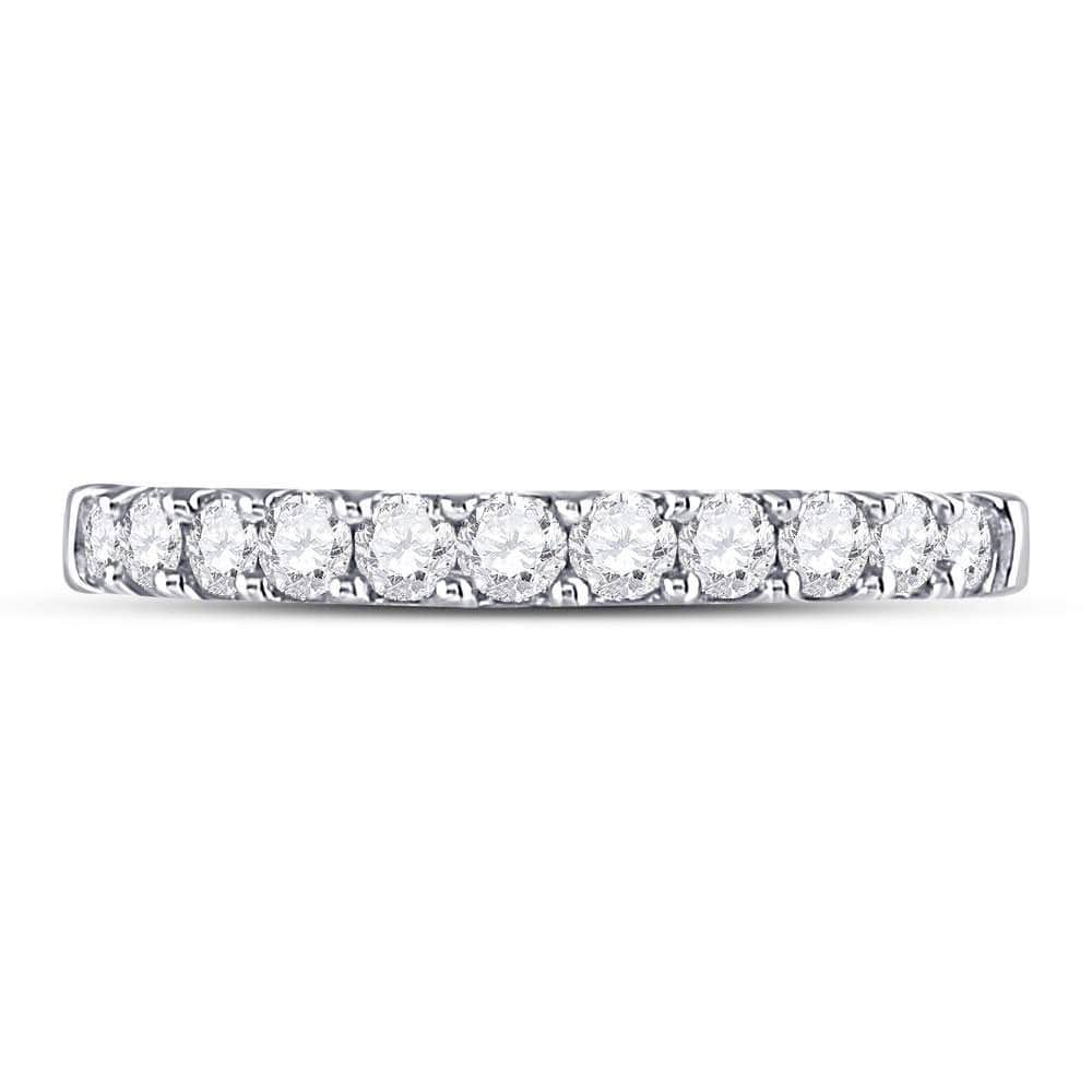 14kt White Gold Womens Round Diamond Single Row Wedding Band 1/2 Cttw