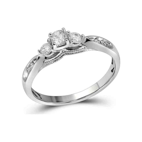 10kt White Gold Womens Round Diamond 3-stone Bridal Wedding Engagement Ring 3/8 Cttw