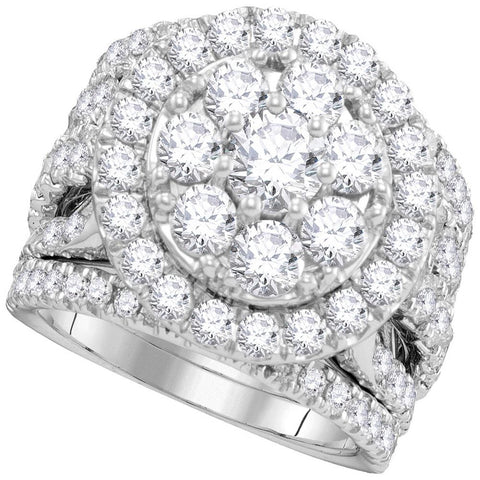 14kt White Gold Womens Round Diamond Certified Halo Cluster Bridal Wedding Engagement Ring Band Set 4.00 Cttw