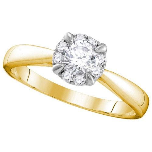 14kt Yellow Gold Womens Round Diamond Solitaire Bridal Wedding Engagement Ring 1/2 Cttw