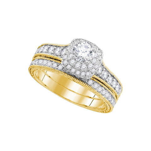 14kt Yellow Gold Womens Round Diamond Milgrain Bridal Wedding Engagement Ring Band Set 1.00 Cttw