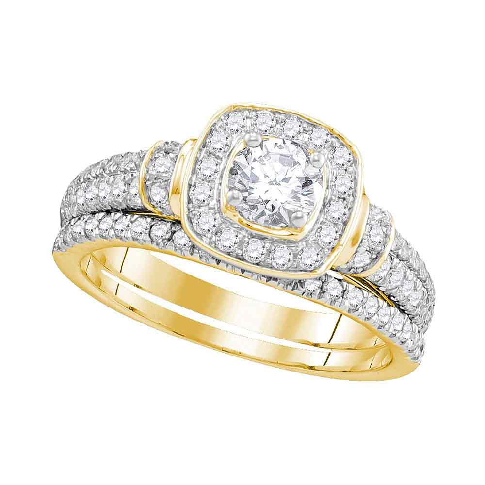 14kt Yellow Gold Womens Round Diamond Square Halo Bridal Wedding Engagement Ring Band Set 1.00 Cttw