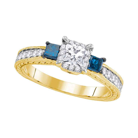 14k Yellow Gold Womens 3-stone Blue Color Enhanced Diamond Wedding Bridal Engagement Ring 1.00 Cttw