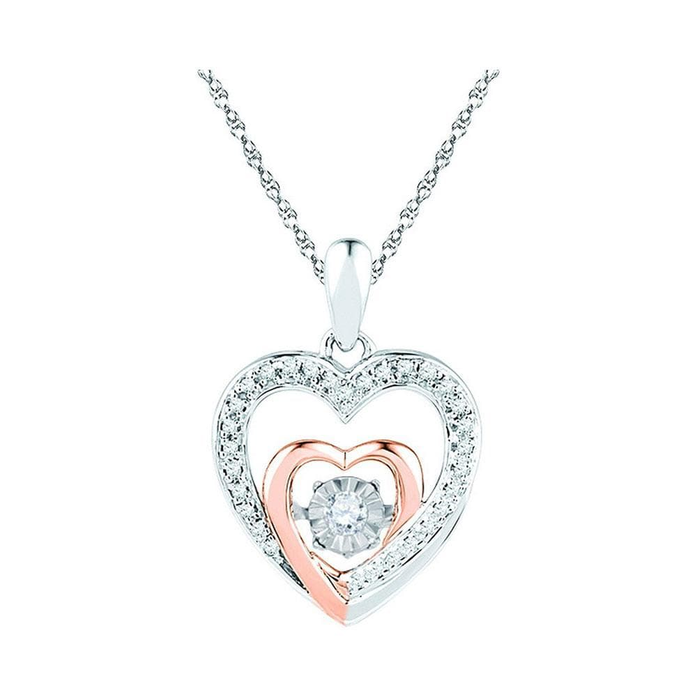 10kt Two-tone Gold Womens Round Diamond Twinkle Moving Heart Love Pendant 1/10 Cttw