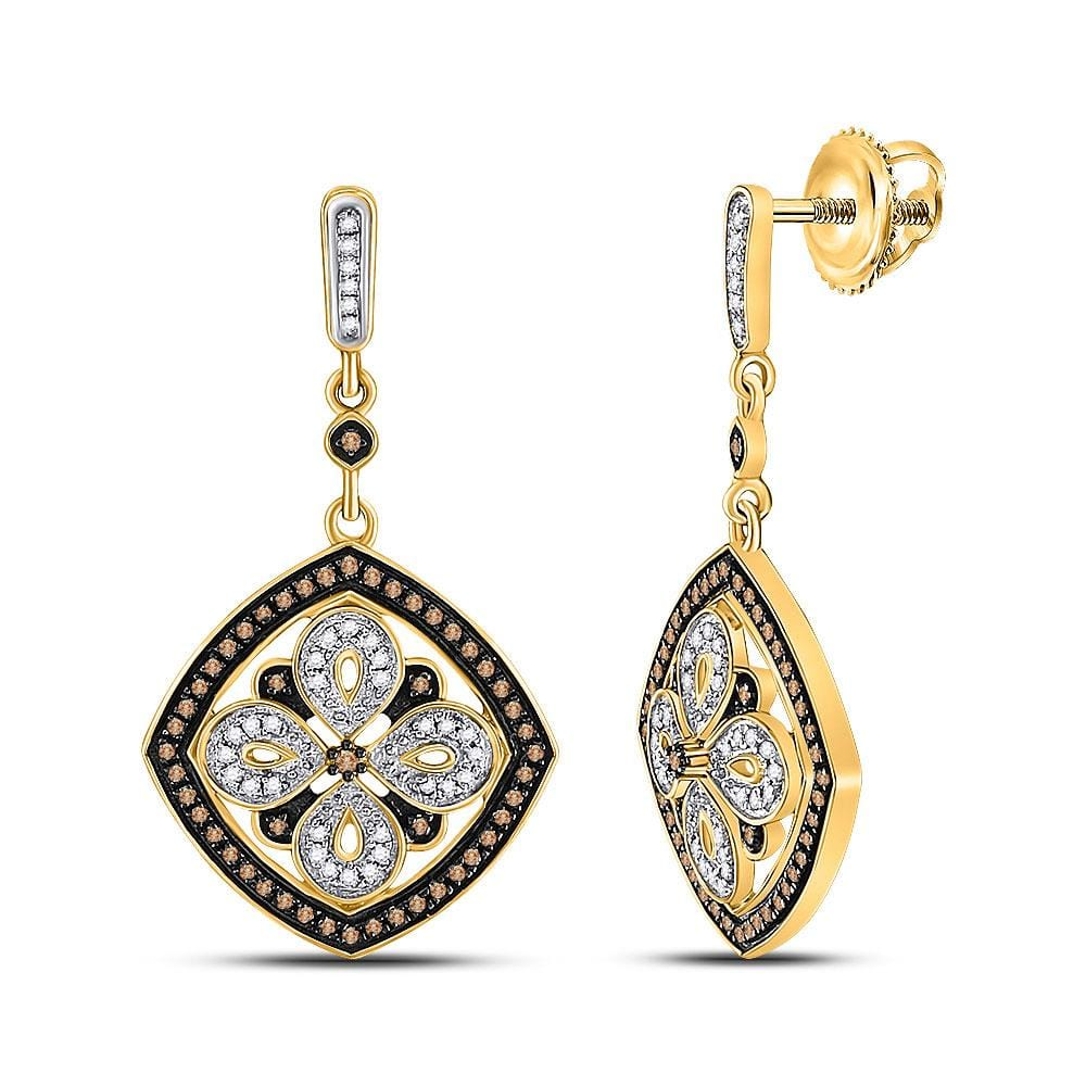 14kt Yellow Gold Womens Round Brown Color Enhanced Diamond Square Dangle Earrings 1/2 Cttw