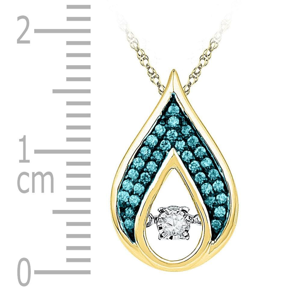 10kt Yellow Gold Womens Round Diamond Solitaire Teardrop Moving Pendant 1/5 Cttw
