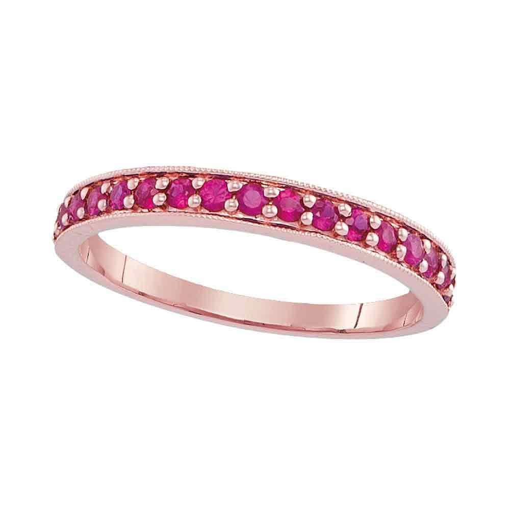 14kt Rose Gold Womens Round Pave-set Ruby Single Row Band Ring 1/2 Cttw