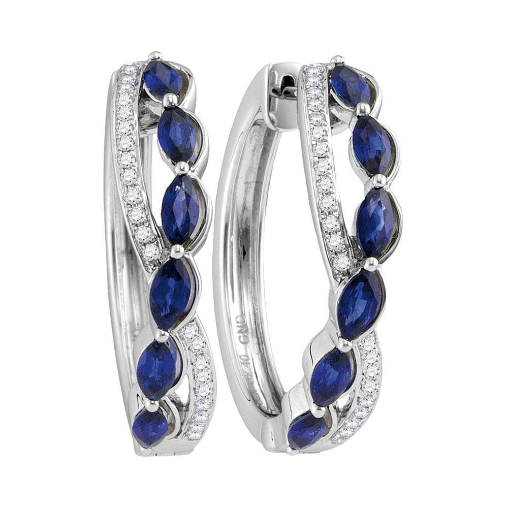 14kt White Gold Womens Oval Natural Blue Sapphire Diamond Woven Hoop Earrings 2-5/8 Cttw