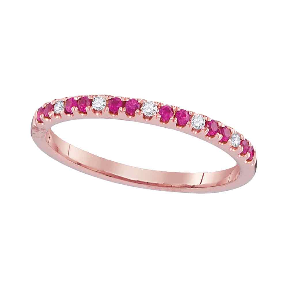 14kt Rose Gold Womens Round Lab-Created Pink Sapphire Diamond Alternating Band 1/5 Cttw