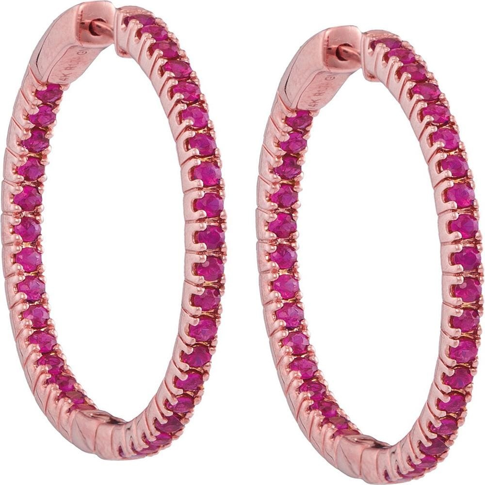 14kt Rose Gold Womens Round Ruby Hoop Earrings 1-3/4 Cttw