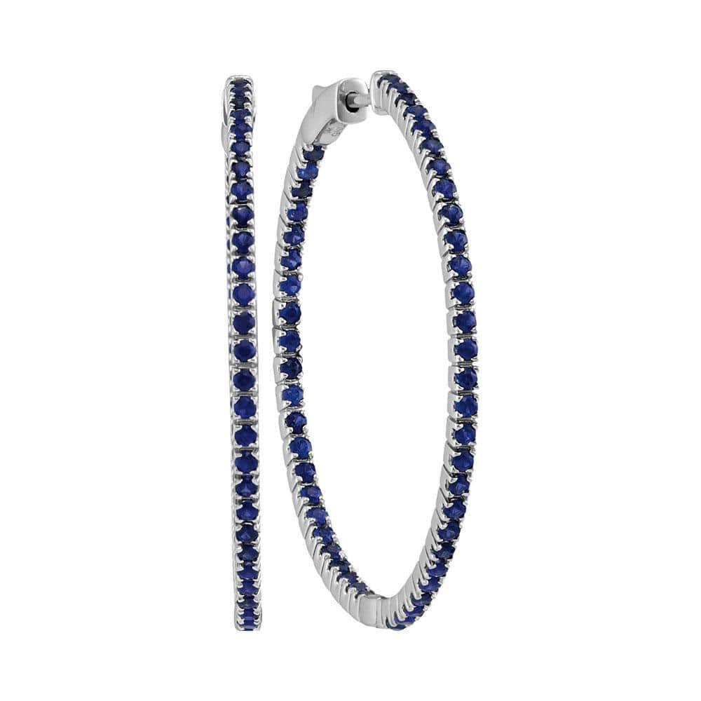 14kt White Gold Womens Round Blue Sapphire Large Slender Inside Outside Hoop Earrings 2-7/8 Cttw