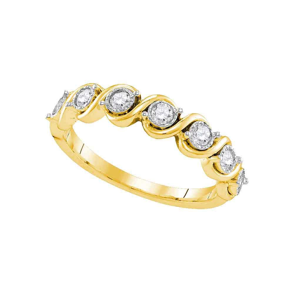 10kt Yellow Gold Womens Round Diamond Cascading Band Ring 1/3 Cttw