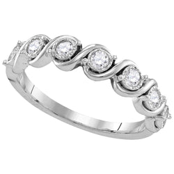 10kt White Gold Womens Round Diamond Cascading Band Ring 1/3 Cttw