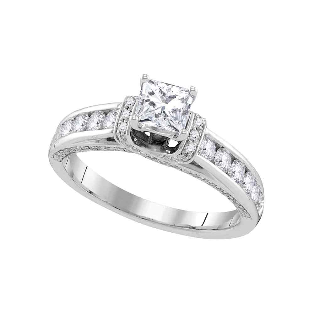 14kt White Gold Womens Princess Diamond Solitaire Bridal Wedding Engagement Ring 1-1/4 Cttw
