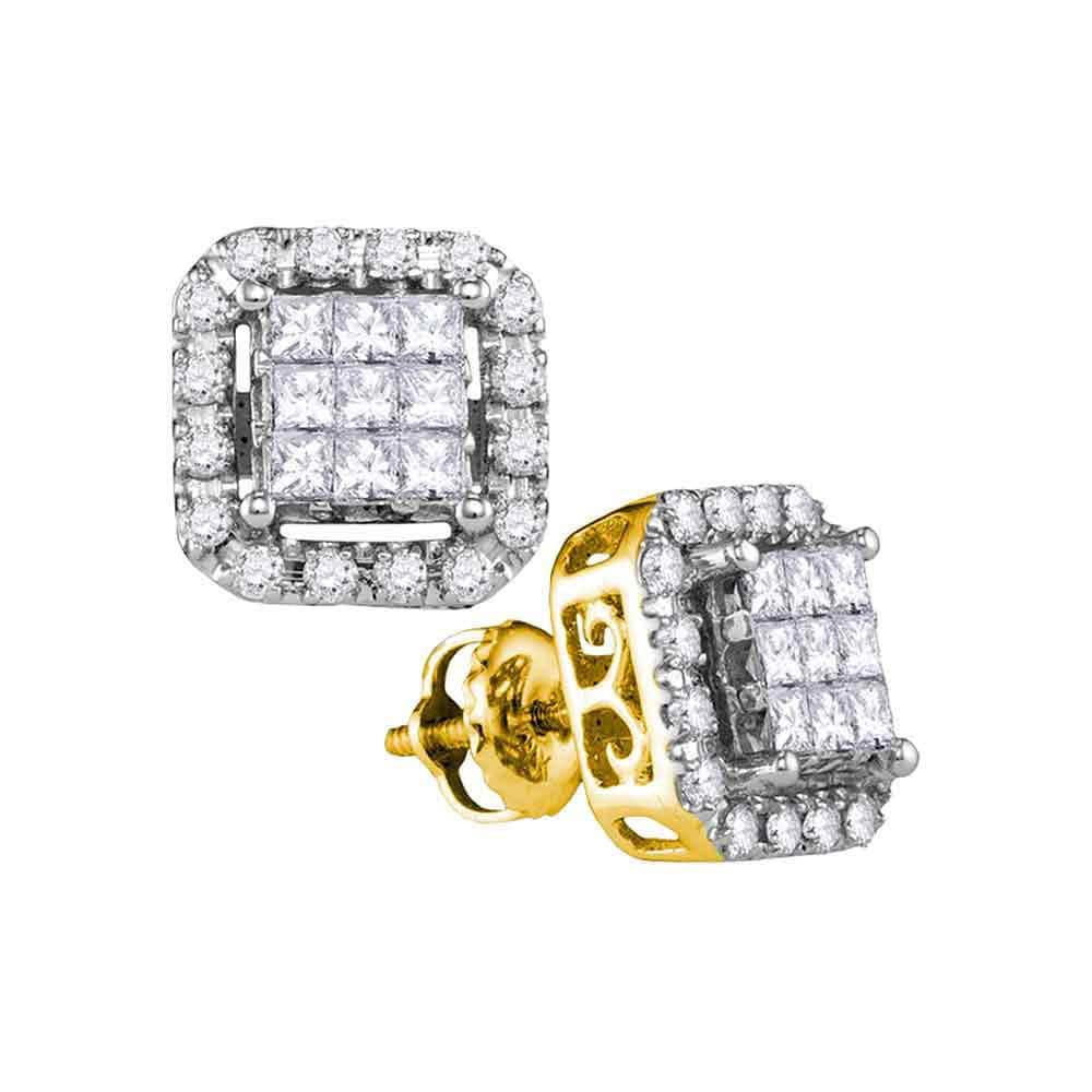 14kt Yellow Gold Womens Princess Diamond Square Frame Cluster Stud Earrings 1 Cttw