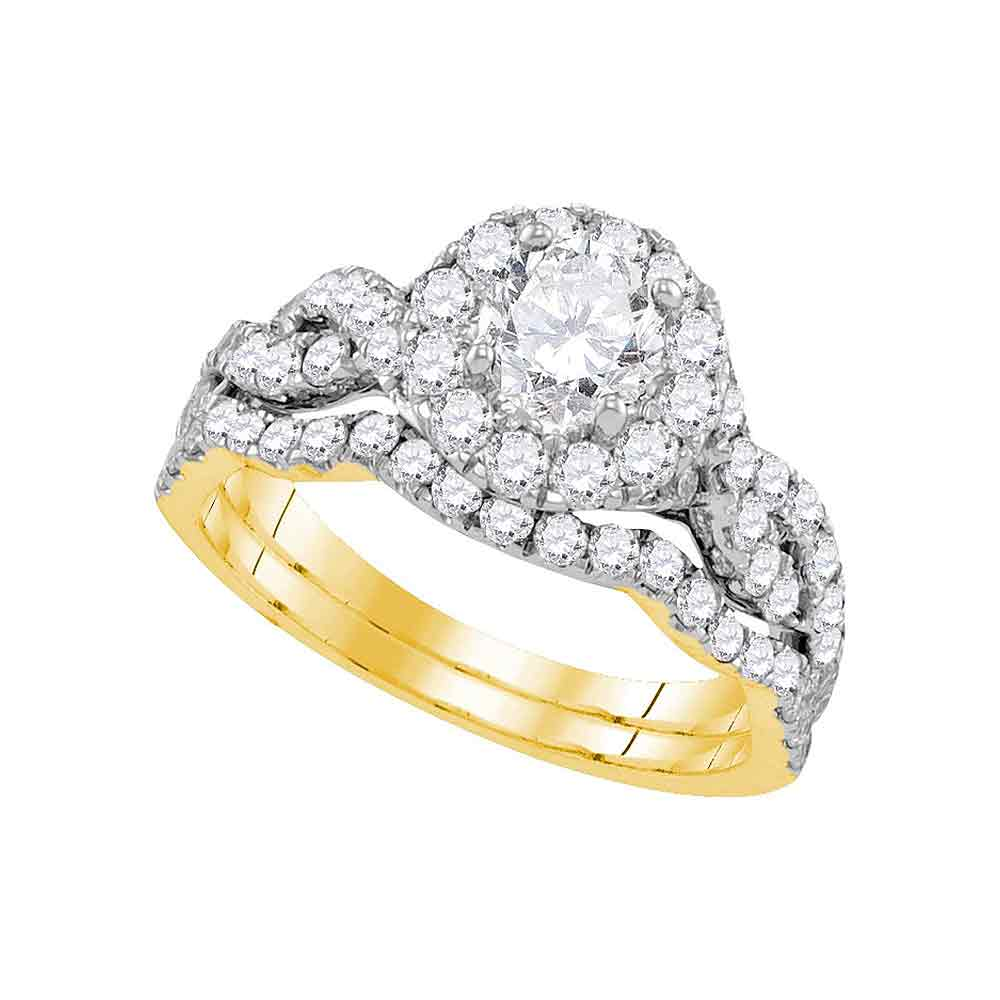 14kt Yellow Gold Womens Round Diamond Bridal Wedding Engagement Ring Band Set 1-3/4 Cttw