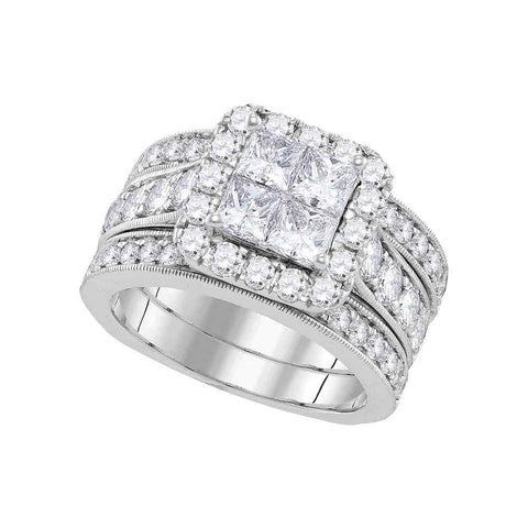 14k White Gold Womens Princess Diamond Halo Bridal Wedding Engagement Ring Band Set 3.00 Cttw