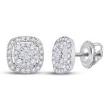 14kt White Gold Womens Princess Diamond Soleil Square Cluster Earrings 1/2 Cttw
