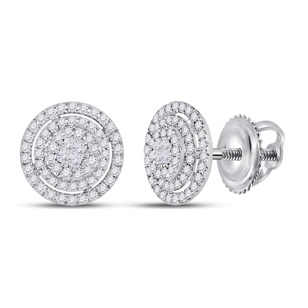 14kt White Gold Womens Princess Diamond Fashion Cluster Earrings 1/2 Cttw