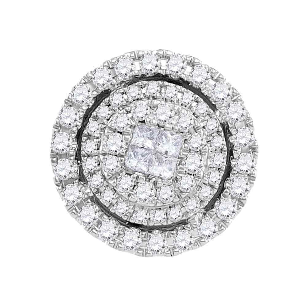 14kt White Gold Womens Princess Round Diamond Soleil Cluster Pendant 1/2 Cttw
