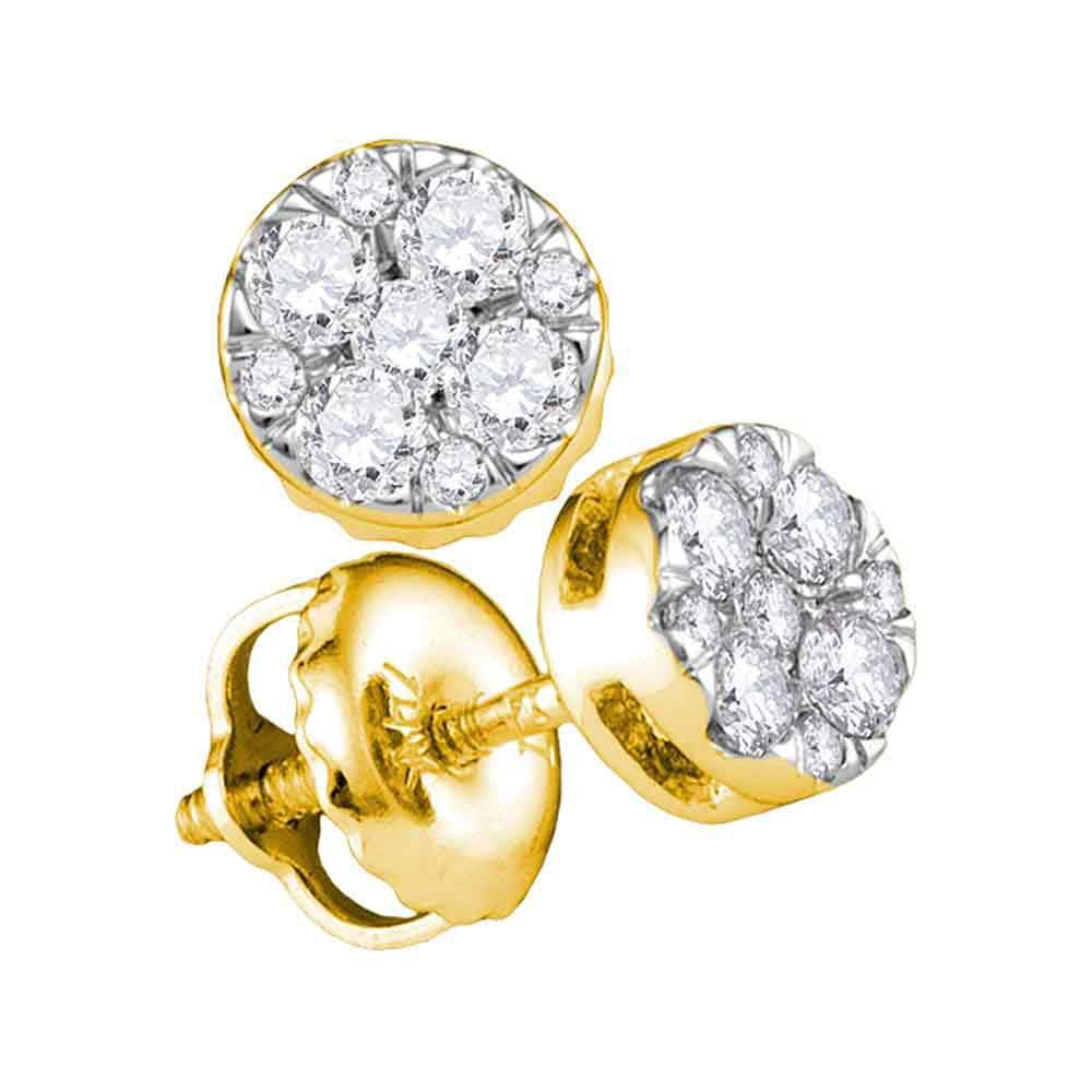 14kt Yellow Gold Womens Round Diamond Cluster Earrings 1/4 Cttw