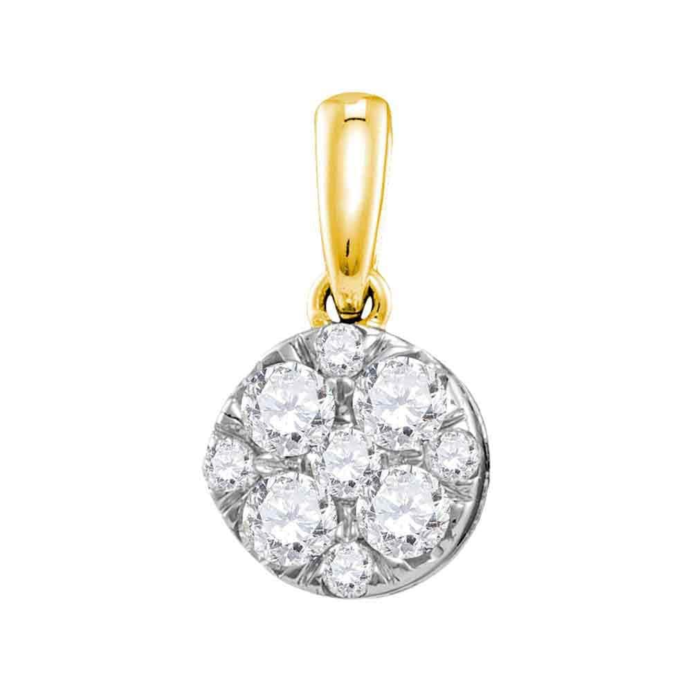 14kt Yellow Gold Womens Round Diamond Cluster Pendant 1/2 Cttw