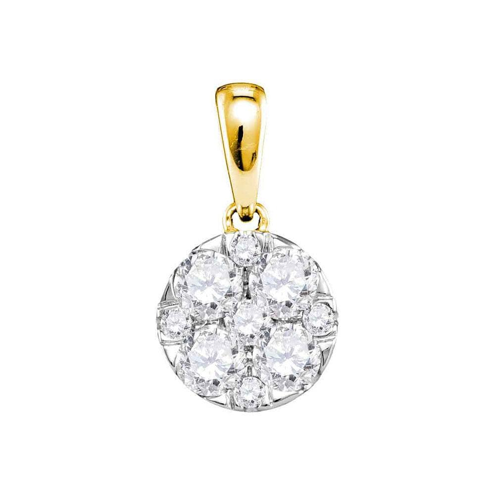 14kt Yellow Gold Womens Round Pave-set Diamond Circle Cluster Pendant 1.00 Cttw
