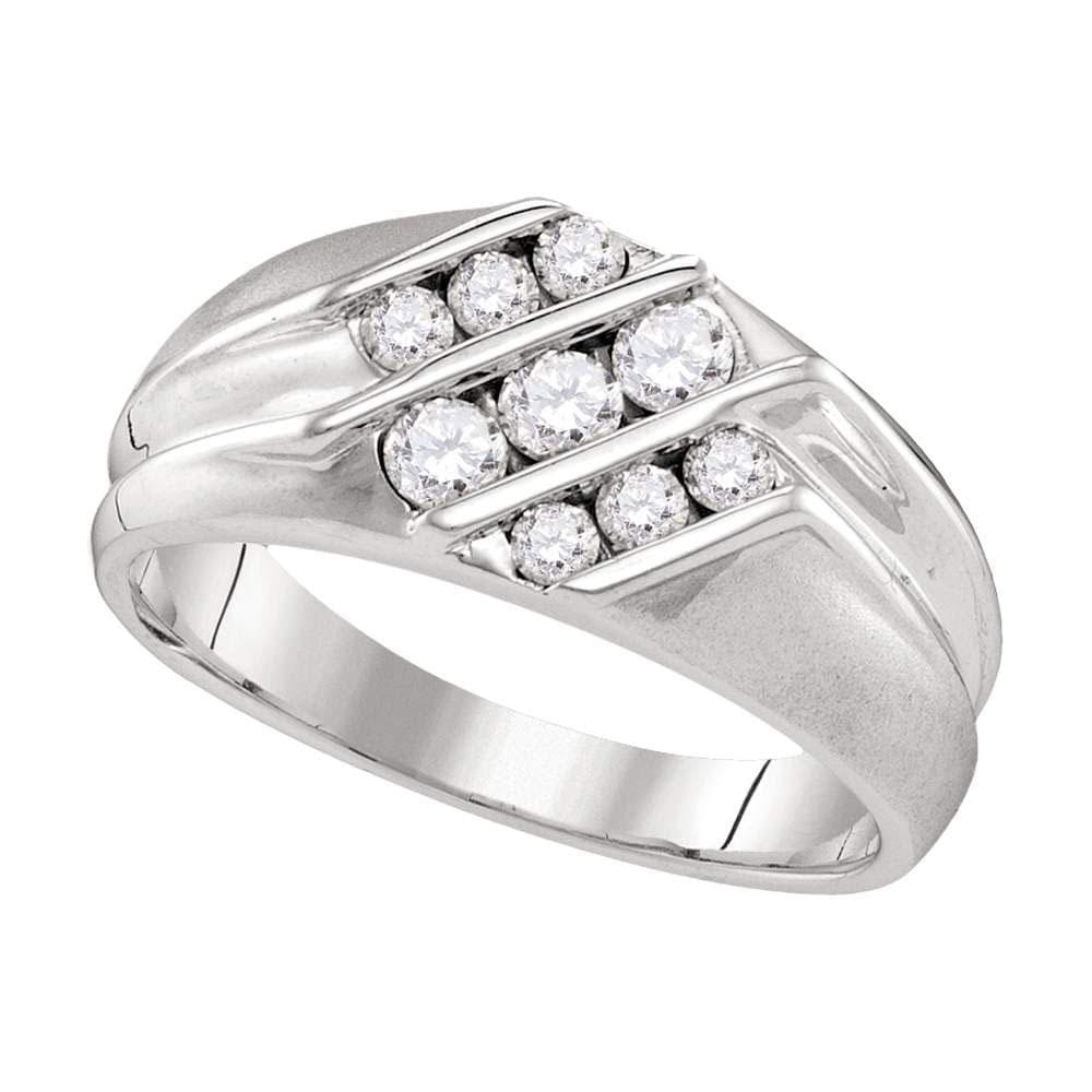 10kt White Gold Mens Round Diamond Wedding Triple Row Band Ring 5/ Cttw
