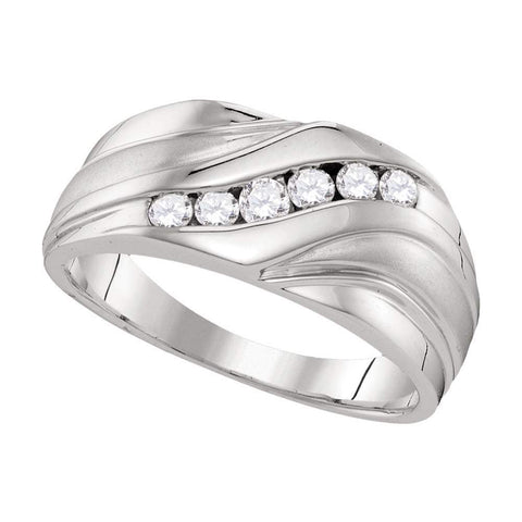 10kt White Gold Mens Round Diamond Wedding Band Ring 3/8 Cttw