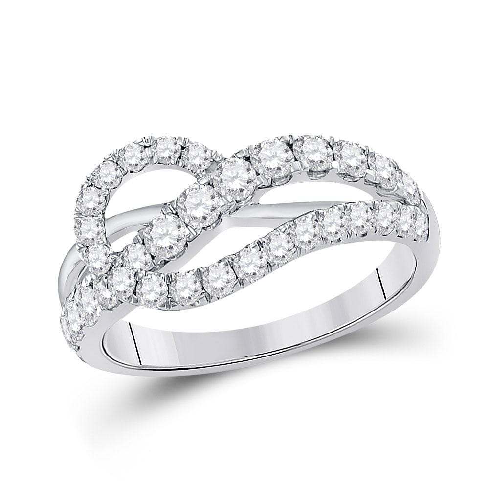 14kt White Gold Womens Round Diamond Crossover Band Ring 1 Cttw