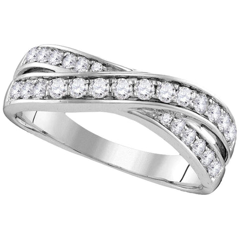 14kt White Gold Womens Round Diamond Crossover Band Ring 1/2 Cttw