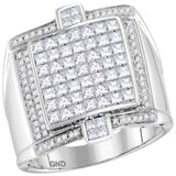 14kt White Gold Mens Princess Diamond Square Luxury Cluster Ring 2-1/12 Cttw