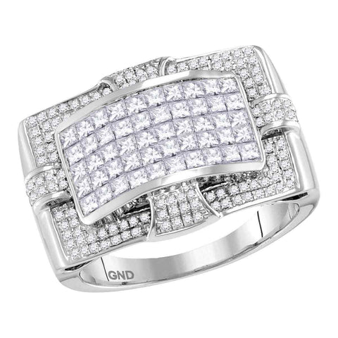 14kt White Gold Mens Princess Diamond Wide Arched Cluster Ring 2.00 Cttw