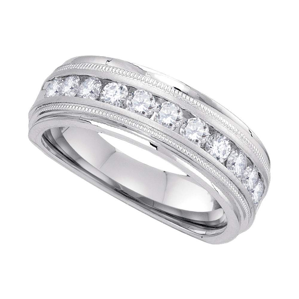10k White Gold Mens Round Diamond Comfort-fit Wedding Anniversary Band 1/4 Cttw