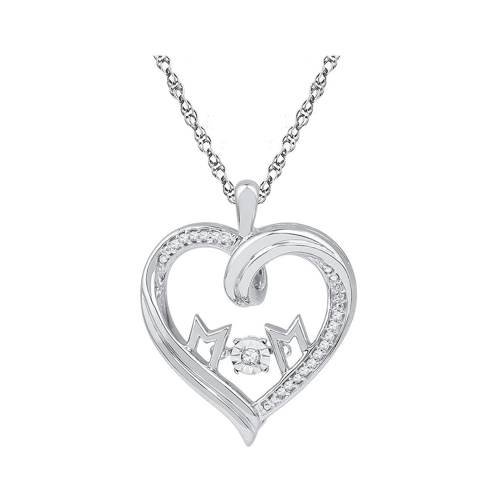 10kt White Gold Womens Round Diamond Moving Twinkle Mom Heart Pendant 1/12 Cttw