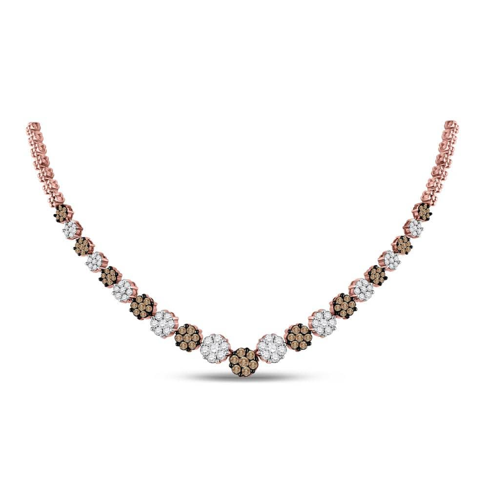 14kt Rose Gold Womens Round Brown Diamond Cluster Necklace 5.00 Cttw