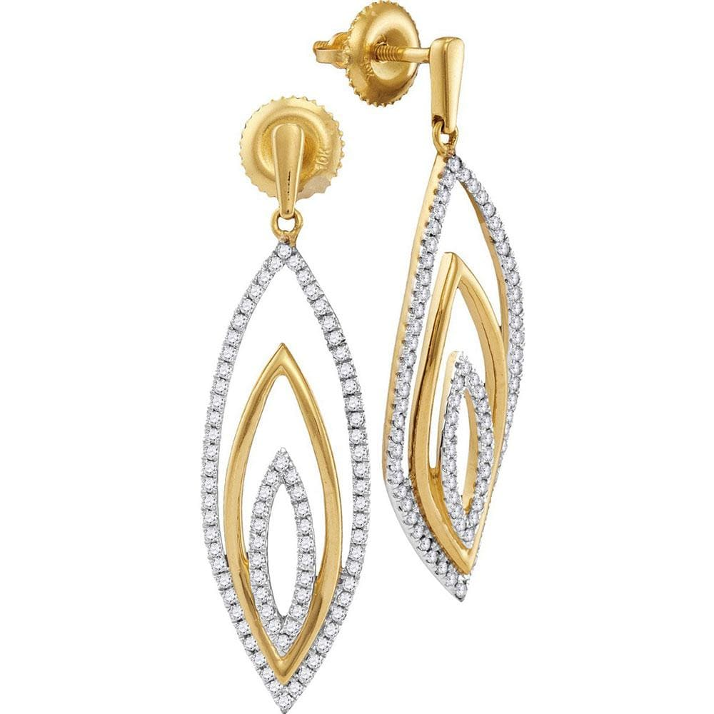 10kt Yellow Gold Womens Round Diamond Marquise Dangle Earrings 1/2 Cttw
