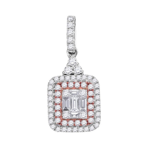 14kt White Gold Womens Round Pink Diamond Square Cluster Pendant 3/8 Cttw