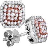 14kt Two-tone Gold Womens Round Diamond Square Cluster Stud Earrings 3/8 Cttw
