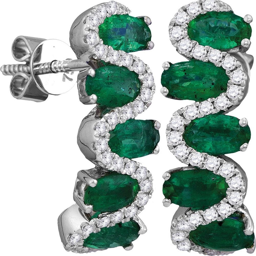18kt White Gold Womens Oval Emerald Diamond Half Hoop Earrings 2-1/2 Cttw