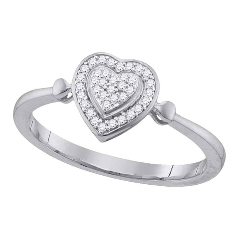 10kt White Gold Womens Round Diamond Heart Frame Cluster Ring 1/10 Cttw