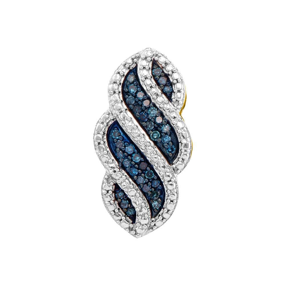 10kt Yellow Gold Womens Round Blue Color Enhanced Diamond Striped Vertical Pendant 1/10 Cttw