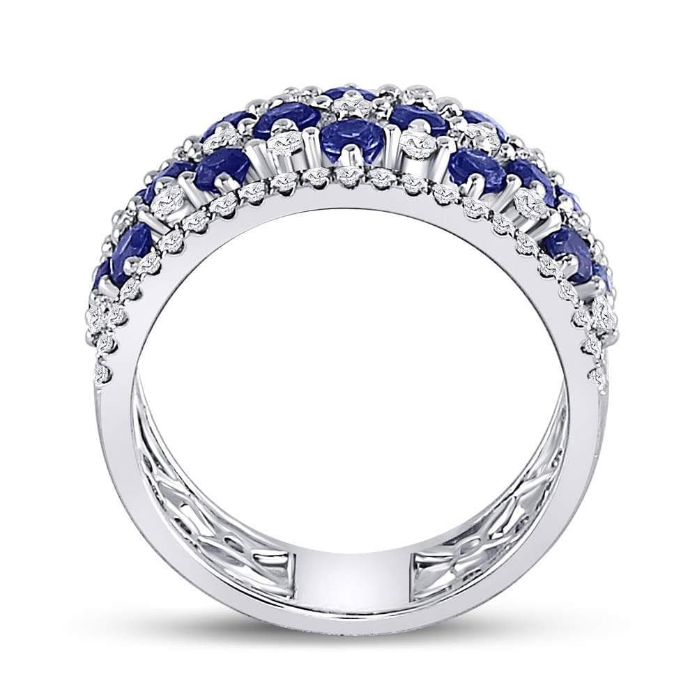 18kt White Gold Womens Round Natural Blue Sapphire with Genuine Diamonds Checkered Band Ring 2-1/8 Cttw