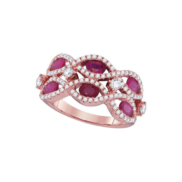 18kt Rose Gold Womens Oval Ruby Strand Fashion Ring 2.00 Cttw