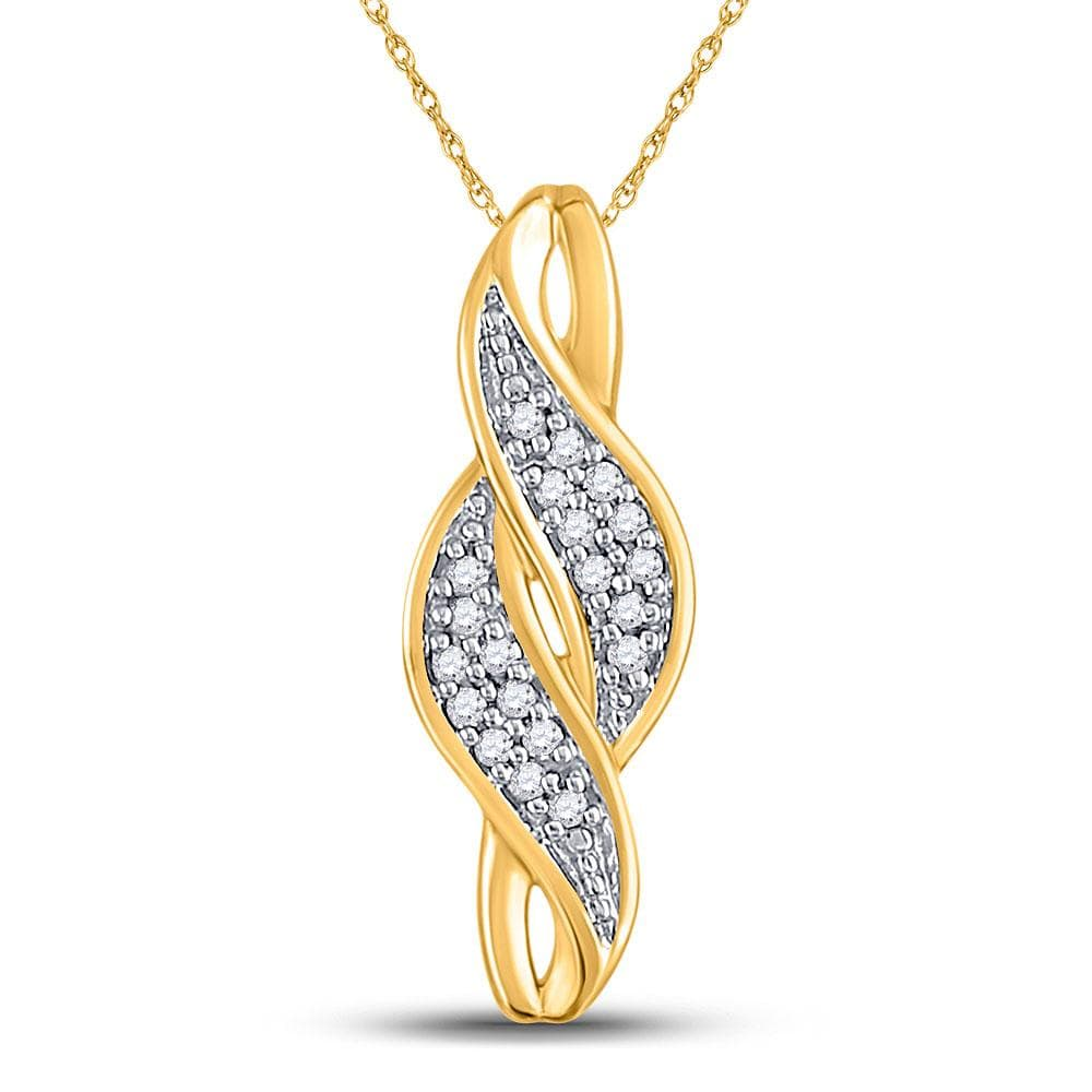 10kt Yellow Gold Womens Round Diamond Vertical Crossover Cluster Pendant 1/20 Cttw