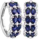 18kt White Gold Womens Oval Blue Sapphire Diamond Double Row Hoop Earrings 4-5/8 Cttw