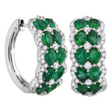 18kt White Gold Womens Round Natural Emerald with Genuine Diamond Double Row Hoop Earrings 4.00 Cttw
